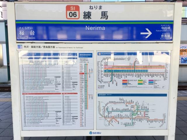 練馬駅の看板、隣の駅は中村橋と桜台