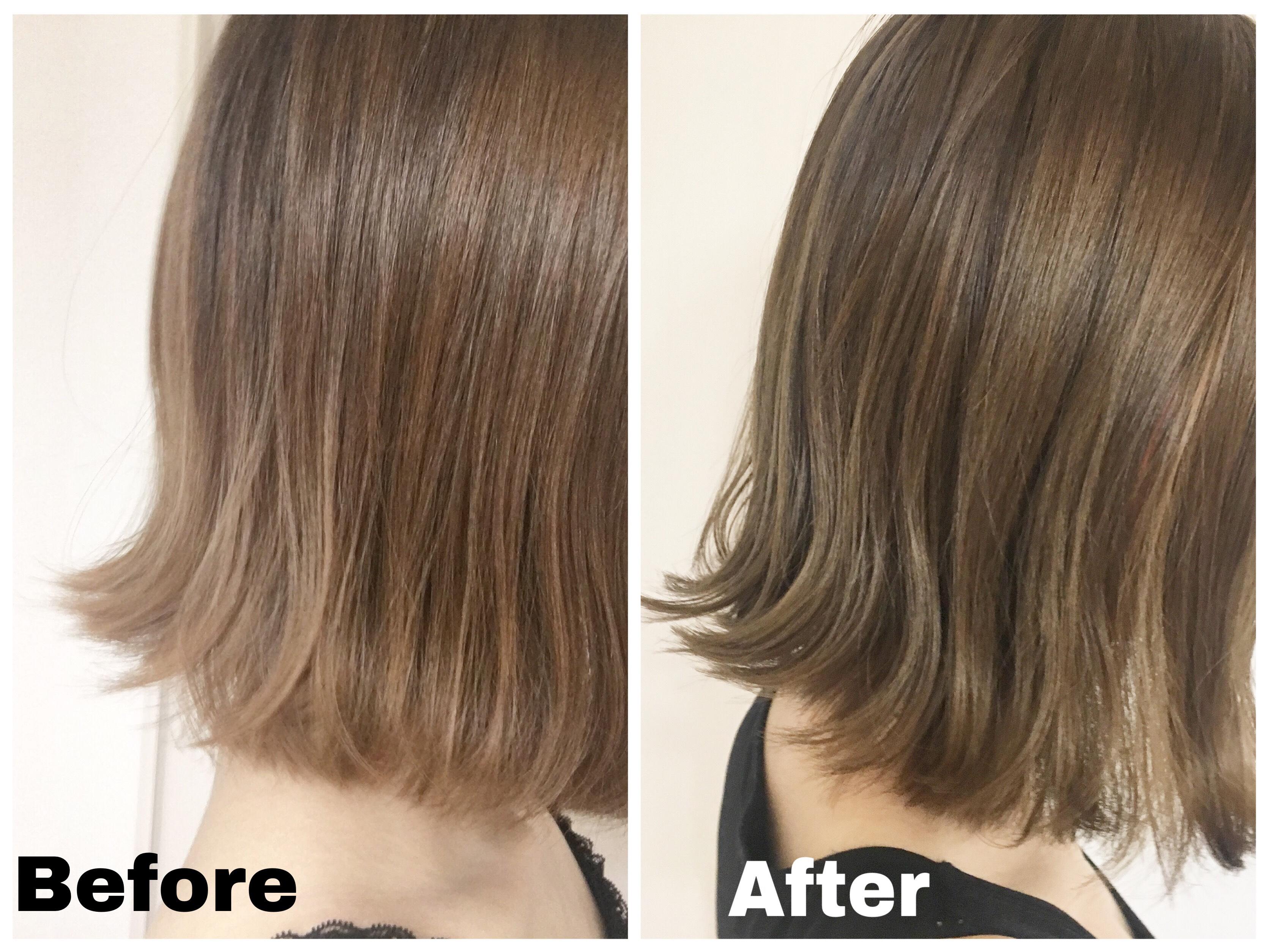 ビューティーラボホイップヘアカラーミスティーアッシュの髪色のレポ比較画像