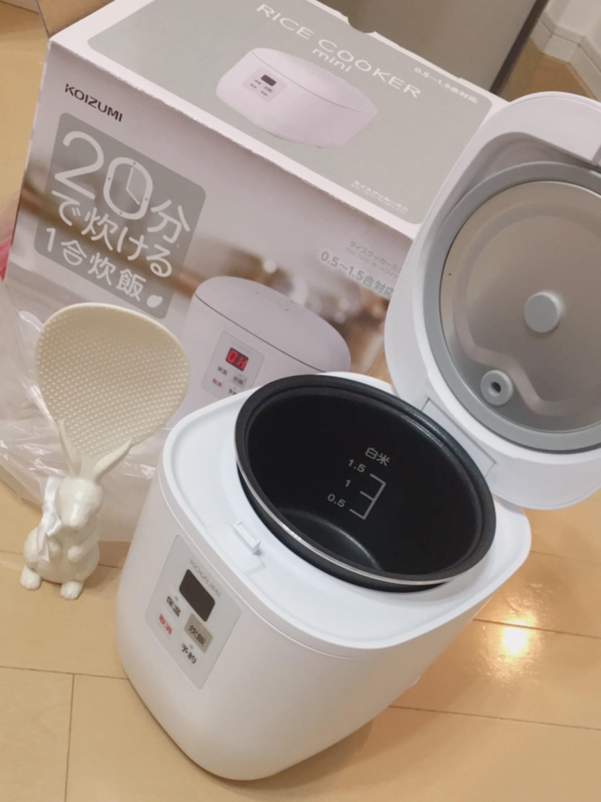 コイズミライスクッカーミニホワイト炊飯器の画像