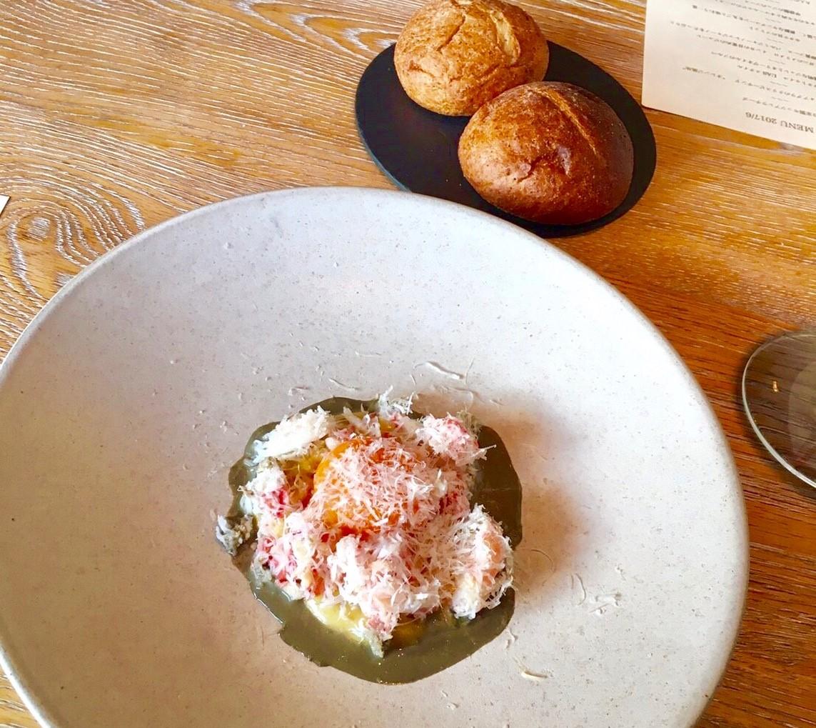北海道産ズワイガニのメリメロ インカの目覚めのピューレ カニミソとこだわり卵の卵黄ソース パルミジャーノレッジャーノをたっぷりとの画像